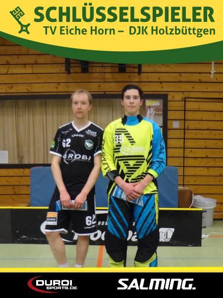 Ein Bild, das Bände spricht: Schlüsselspieler der Partie wurden DJK-Stürmer Ilari Suuronen und der Bremer Goalie (!!) Louis Schaidl